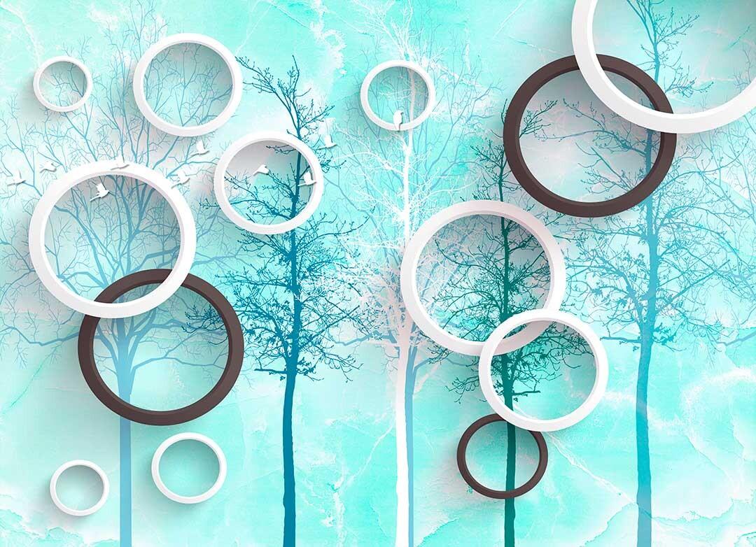 3д круги и деревья с птицами на нежно бирюзовом фоне.