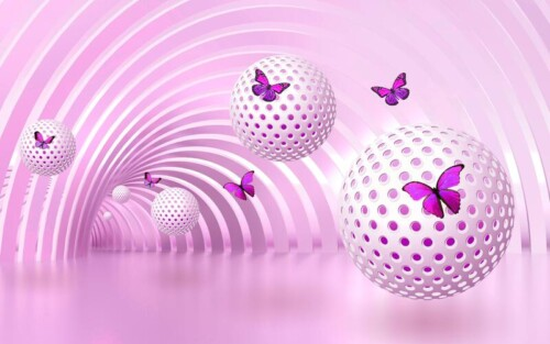 3Д Шары с бабочками в тоннеле