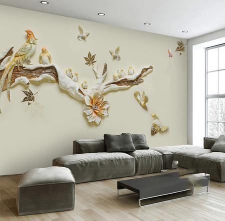 3Д ветка с птицами