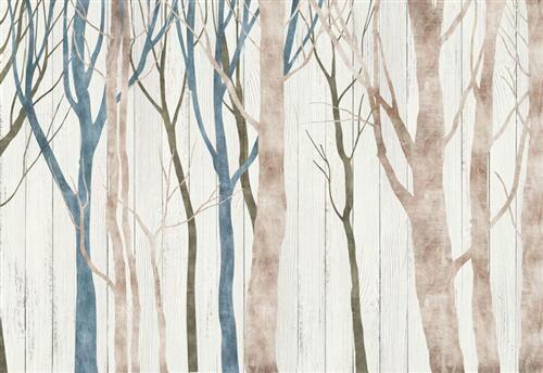 Акварельные стволы деревьев