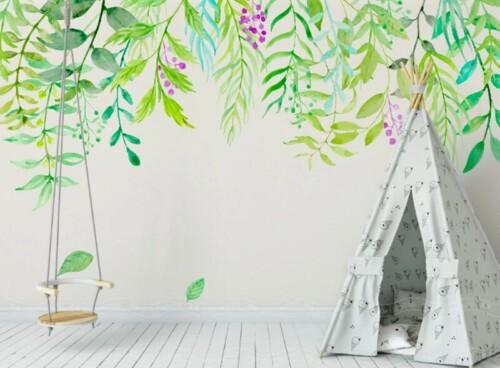 Акварельные свисающие ветви и листья