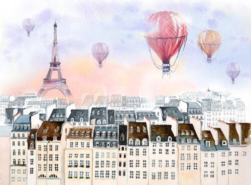 Акварельный парижский пейзаж