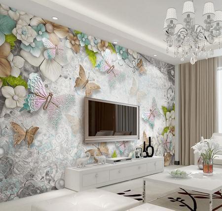 Бабочки в нежных цветах