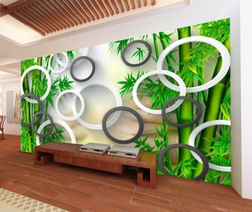 Бело-чёрные 3Д круги на фоне зелёного бамбука