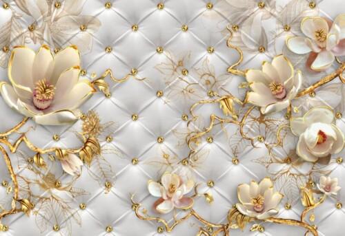 Белые 3Д цветы магнолии с золотыми ветками