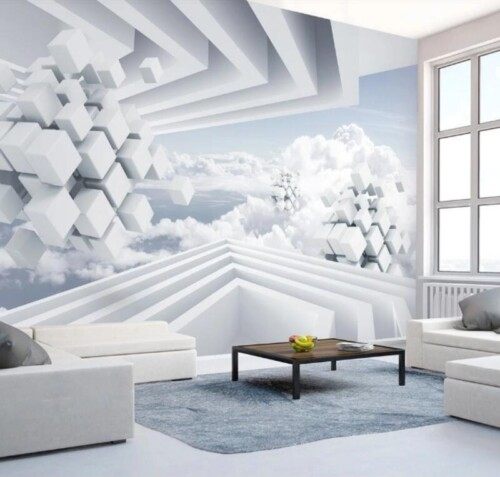 Белые кубы в облаках