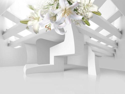 Белые лилии на белой абстракции