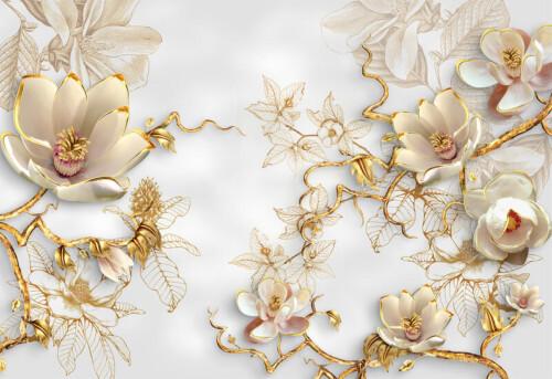 Белые объемные цветы магнолии на золотых ветвях на золотом фоне