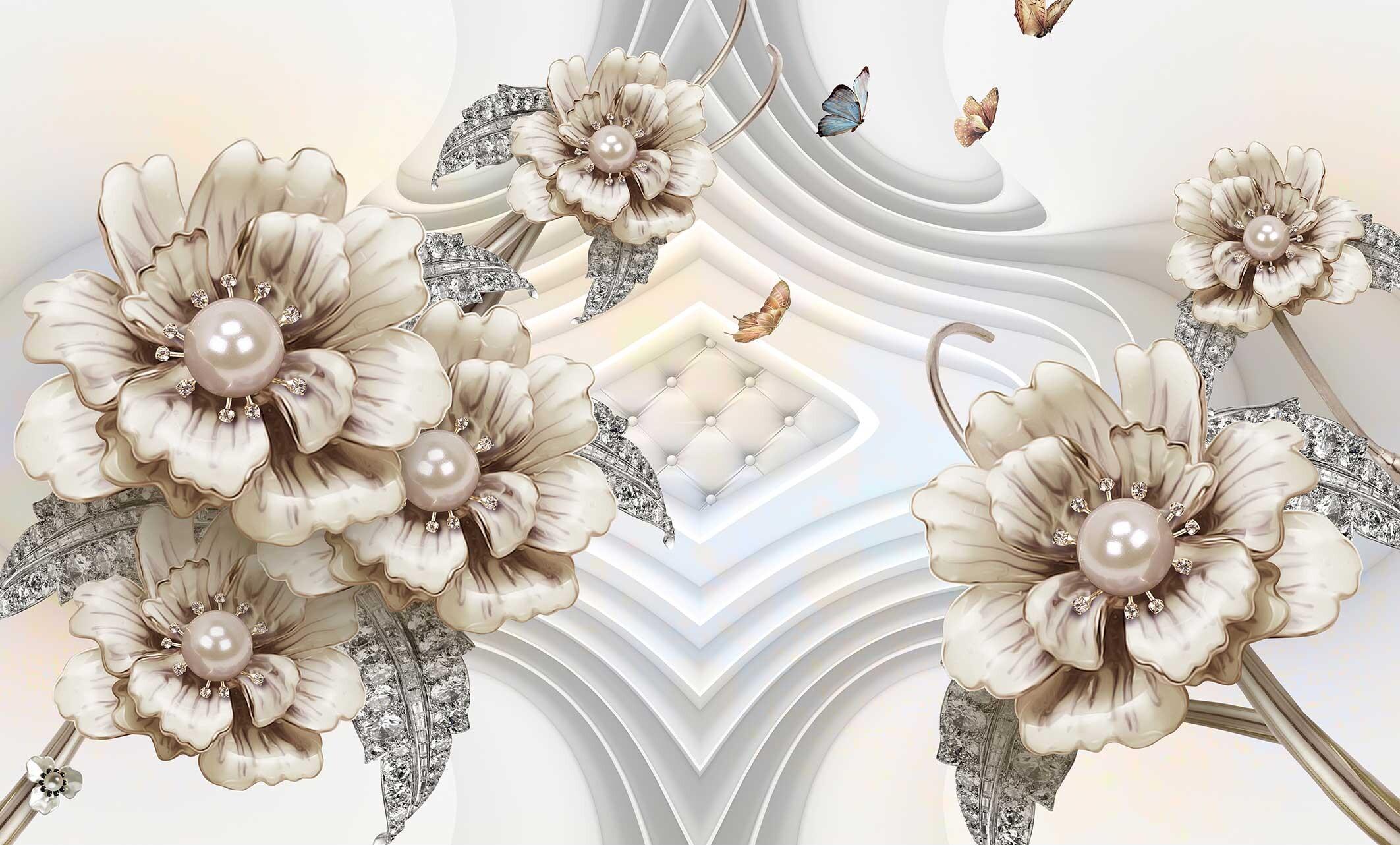 Бежевые цветы с жемчугом с 3D эффектом