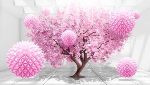 Цветущее розовое дерево и колючие шары