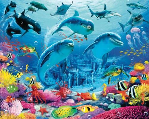 Дельфины и рыбы в затопленном городе