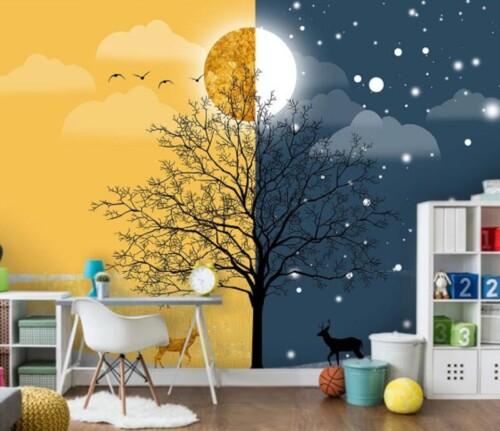 Дерево летним днем и зимней ночью