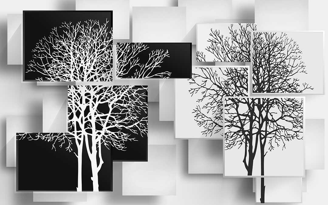 Деревья в стиле модерн черно белое 3Д