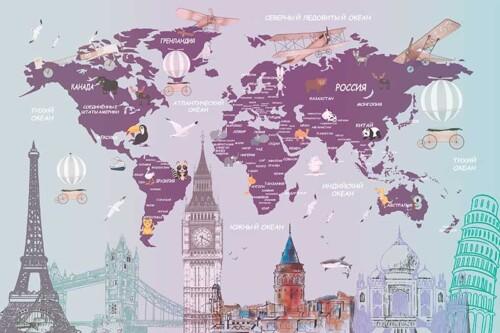 Детская карта мира на русском языке