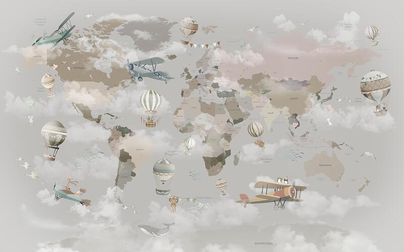 Детская карта мира с воздушными шарами и самолетами