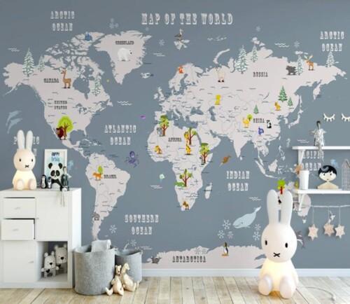 Детская карта мира с животными