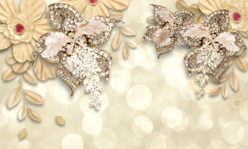 Драгоценные цветы украшения на золотистом фоне