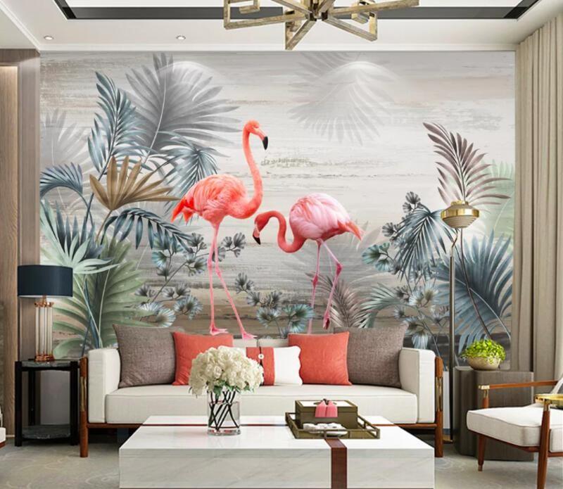 Фламинго, пальмы, море, облака