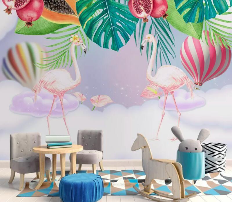 Фламинго, тропики, гранаты, облака