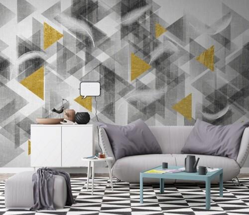Геометрическая композиция из треугольников с перьями