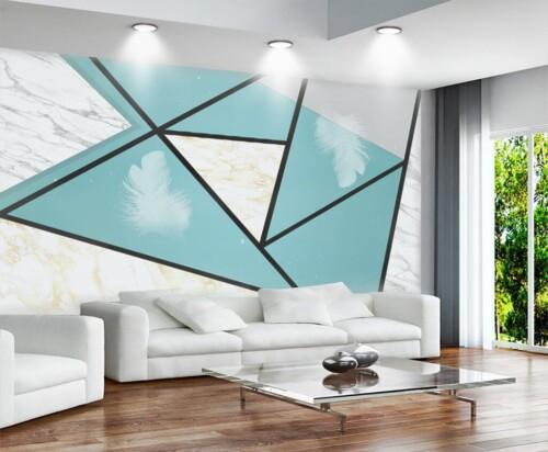 Геометрическая композиция с перьями и мрамором