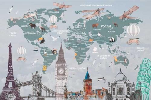 Карта мира на русском языке,  достопримечательности и животные стран
