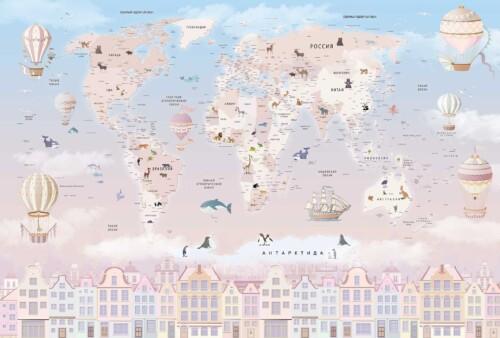 карта мира в молочных оттенках на русском языке для девочек на фоне неба, шары, дома, животные, облака