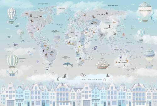 Карта мира в нежных на русском языке для МАЛЬЧИКА на фоне неба, шары, дома, животные, облака