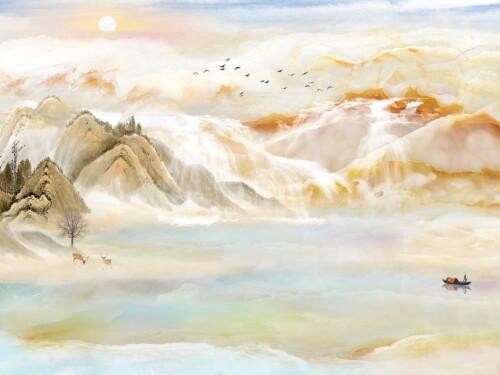 Китайская живопись, олени и лодка на фоне гор реки и солнца