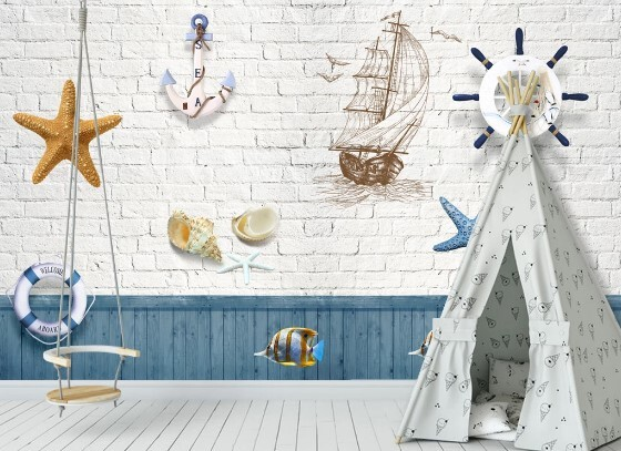 Корабль, ракушки и морские звезды