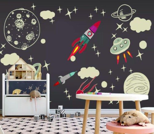 Космос, ракета, планеты, облака