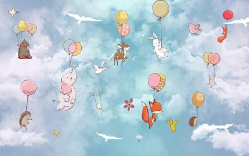Летящие на шарах звери в небе