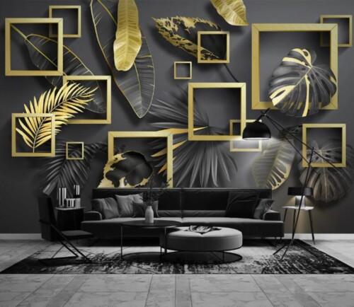 Листья и квадраты в черно-золотых тонах