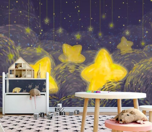 Нарисованные желтые звезды на синем небе