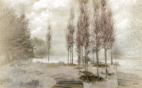 Нарисованный зимний пейзаж