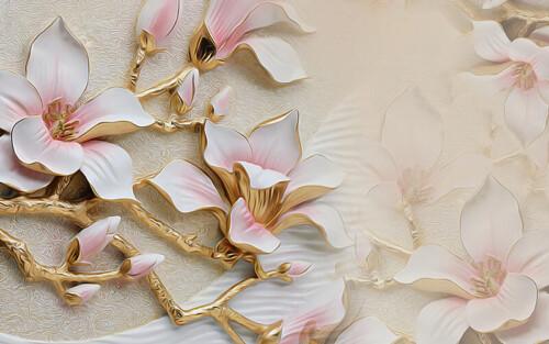 Объемные 3Д розовые цветы магнолий на золоченых ветках