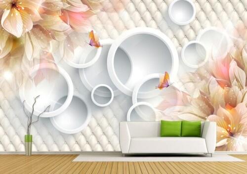 Объемные белые круги с цветами