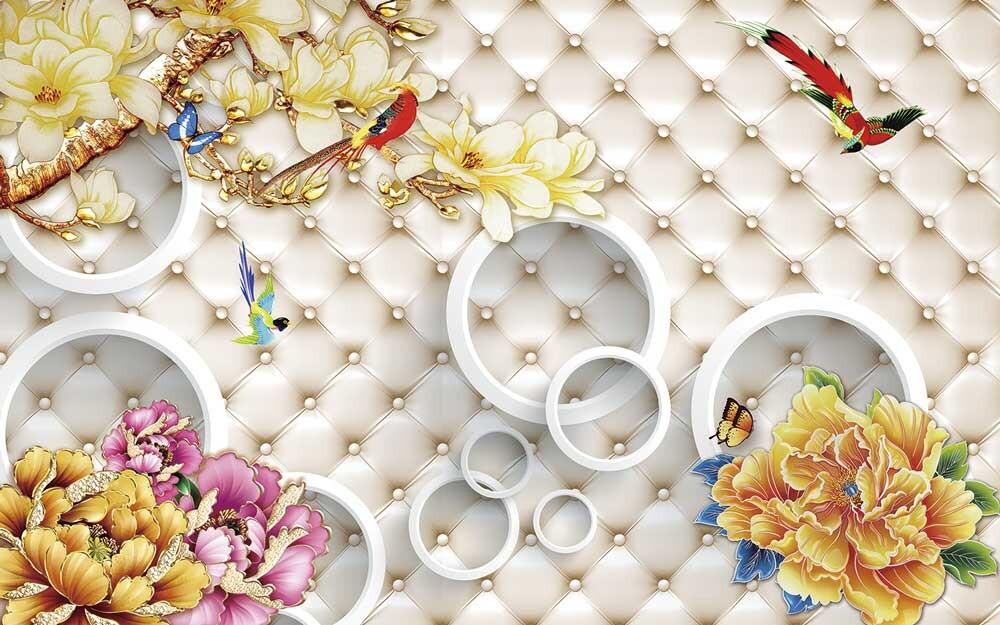Объемные цветы и круги на фоне каретной стяжки