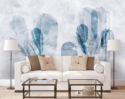 Полупрозрачные перья на сером фактурном фоне