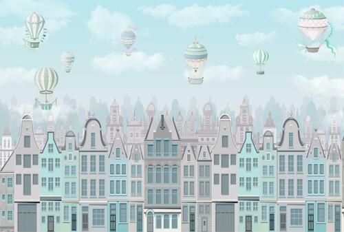 Разноцветные дома и воздушные шары