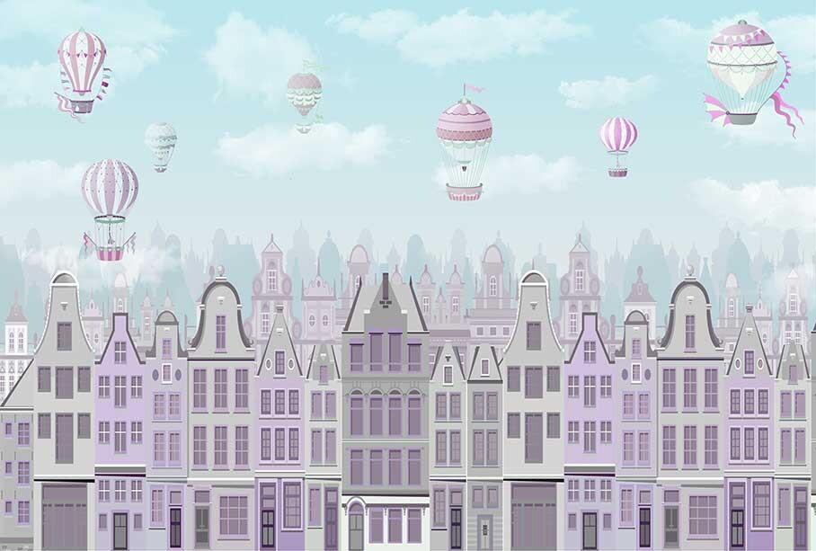 Разноцветный город с шарами для девочки