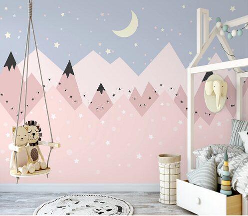 Розовые горы, звезды и месяц