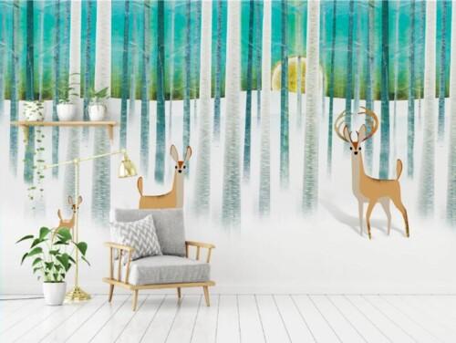 Семья оленей в зимнем лесу