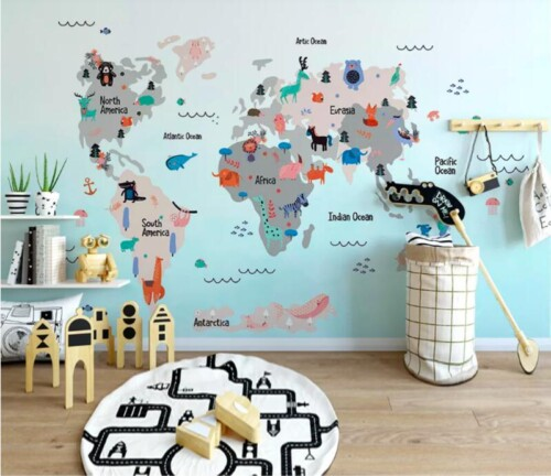 Яркая карта мира на английском