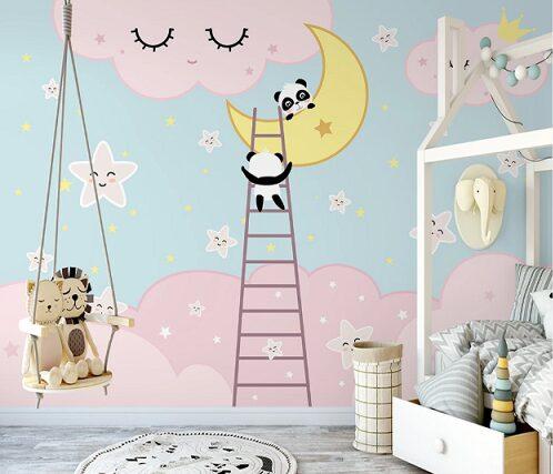 Забавные панды на фоне розовых облаков, лестница и месяц
