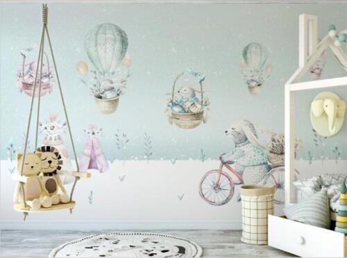 Зайчата в воздушных шарах и на велосипеде