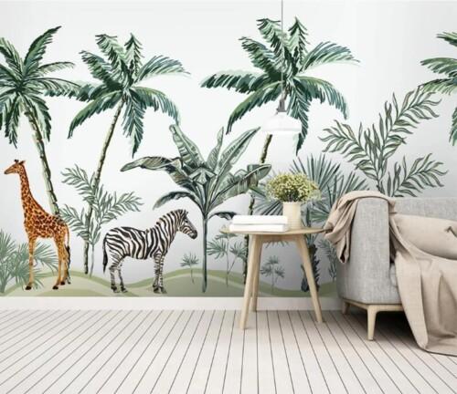 Жираф и зебра под пальмами