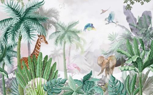 Жираф, слон и фламинго в джунглях, среди пальм и листьев