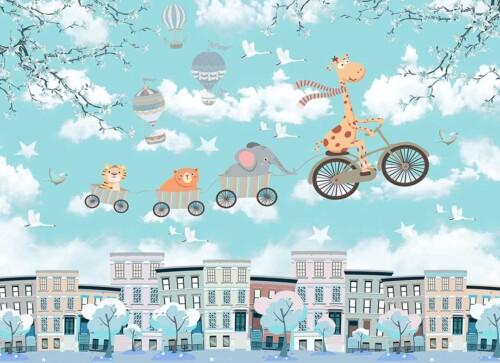 Животные в паровозике, жираф на велосипеде, детский город с облаками и шарами