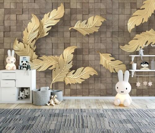 Золотистые перья на фоне коричневой фактурной стены